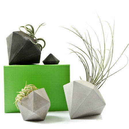 Geometric Concrete Bowls and Planter by PASiNGA