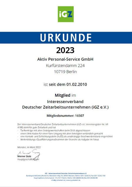 Urkunde des iGZ e.V.