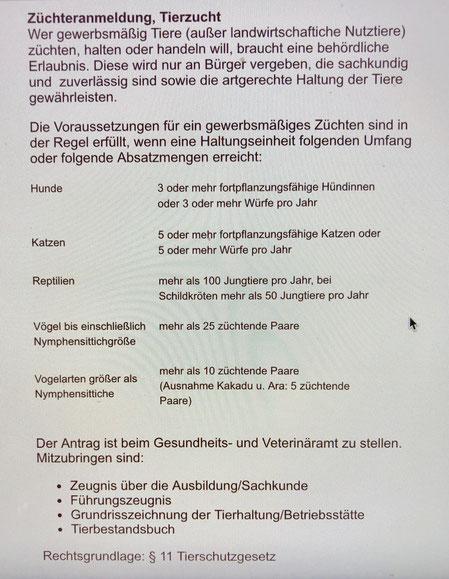 Züchteranmeldung, Tierzucht, Quelle: Veterinäaramt Magdeburg