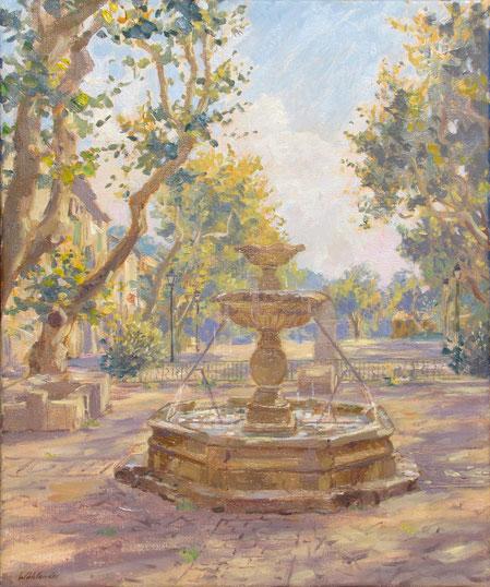 La fontaine du Boeuf en haut de la place rouguière à Barjols dans le var. Cette fontaine est célèbre car le Boeuf durant la fête de saint Marcel allez boire à cette fontaine.