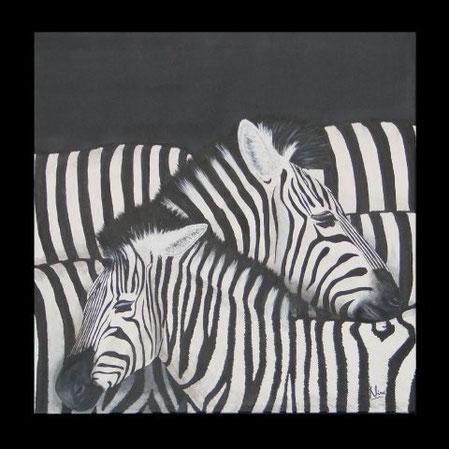 ZEBRAS UNDINE & CHAKA 94 x 94 cm, Acryl (verkauft)