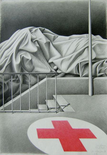 Das Kreuz im Gebirge,    1978,    100/70 cm,    Graphit und Farbstift,  weißes Zeichenpapier