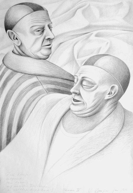 Zwei Könige, entspannt, ohne Krone, auf neutralem Territorium, die Weltlage besprechend. 1980, 100/70 cm, Grapit auf weißem Zeichenpapier.