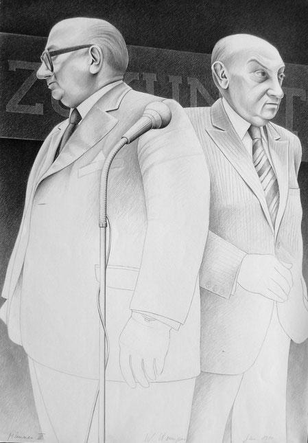 Männer, III, 1980. 100/70 cm, Graphit auf weißem Zeichenpapier
