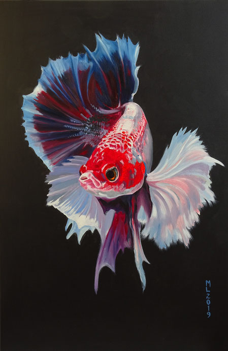 Colorful fish, japanischer Kampffisch, asian decoration, rot, oil painting