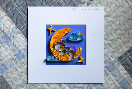 quilling , art, paper art, quilling paper art, animals quilling art, quilling bear moon , quilling moon, sweet dreams, kids art, quilling kidsroom, paper,  quilling wall art, artwork, квиллинг, Larissa Zasadna, Лариса Засадная, Квиллинг бумага