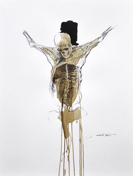 """F.MARTIN© Dessin étude préparatoire pour """"Requiem pour un apostat"""""""