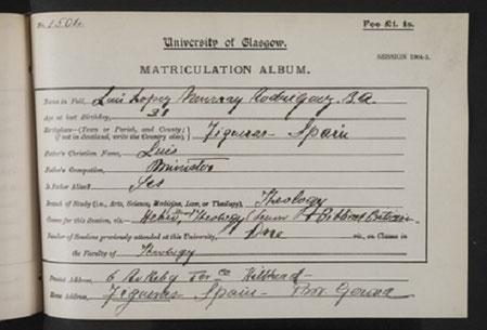 Die Eintragung für den Studenten Luis López Rodrríguez im Matrikulationsverzeichnis der Universität Glasgow (Quelle: Galeria de Metges Catalans)