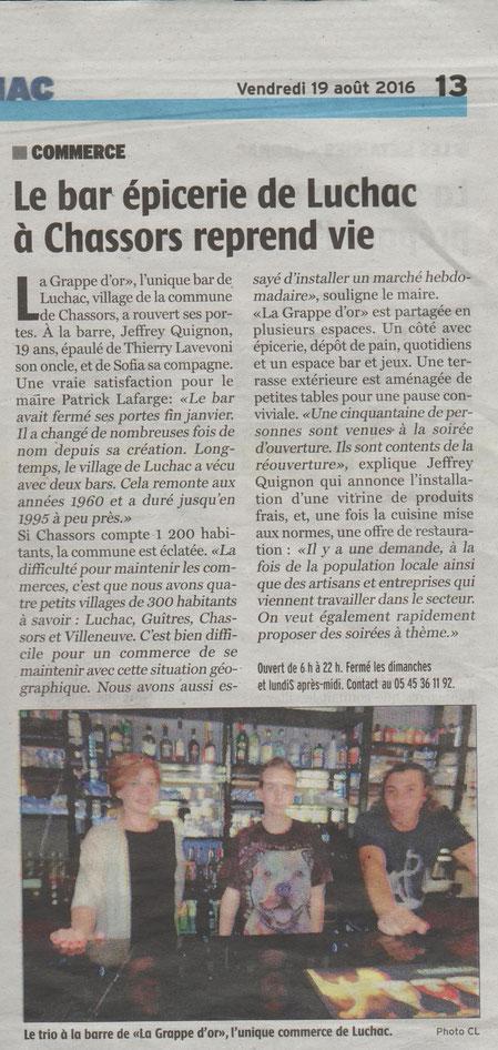 Article Charente Libre du 19 août 2016