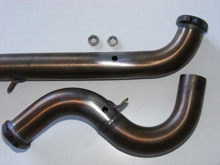 Perçage des pipes d'échappement à 120 mm du plan de joint sur la culasse, et confection de deux écrous dans une plaque inox ép. 4 mm au pas de 8 X 100.