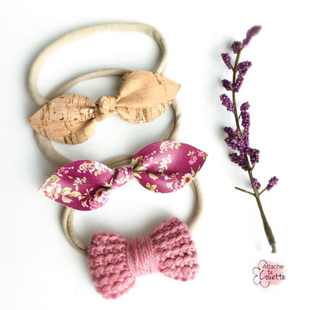Headbands with bows made of Cork, faux leather and crocheted Merino. (Click on the picture to learn more)