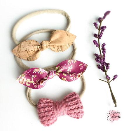 Trio de bandeaux avec noeuds en liège, simili-cuir et crocheté (Cliquez sur la photo pour avoir plus d'informations)