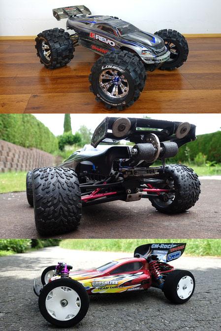 Der Traxxas E-Revo 1:8, 1:16 und das Tamiya DT-02 Chassis gehören zu den RC-Cars, die von uns repariert, gewartet oder getunt werden können.