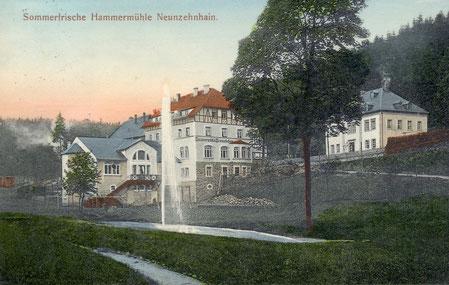Bild: Teichler Wünschendorf Erzgebirge Hammermühle Neunzehnhain Postkarte 1912