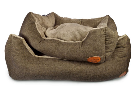 Hundestrand Hundebett Softbed Herringbone braun schwarz 51 Degrees North