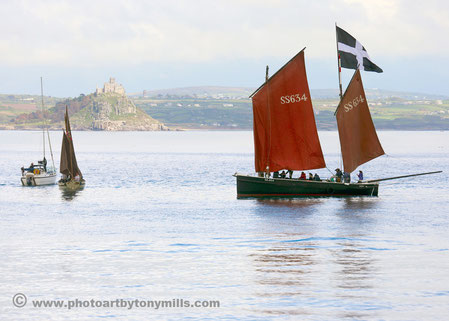 The ancient lugger, 'Barnabus', in Mounts Bay
