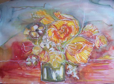 Blumen in grauer Vase Aquarell 2011 56 x 76 cm -verkauft-