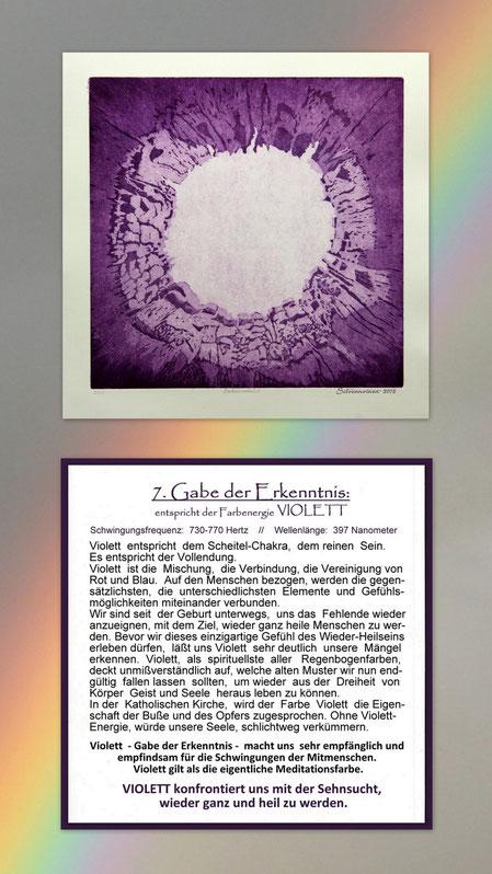 Fotocollage der Radierung sieben Gaben  mit Begleittext auf einem Regenbogen – Geistesgabe der Erkenntnis – Violett
