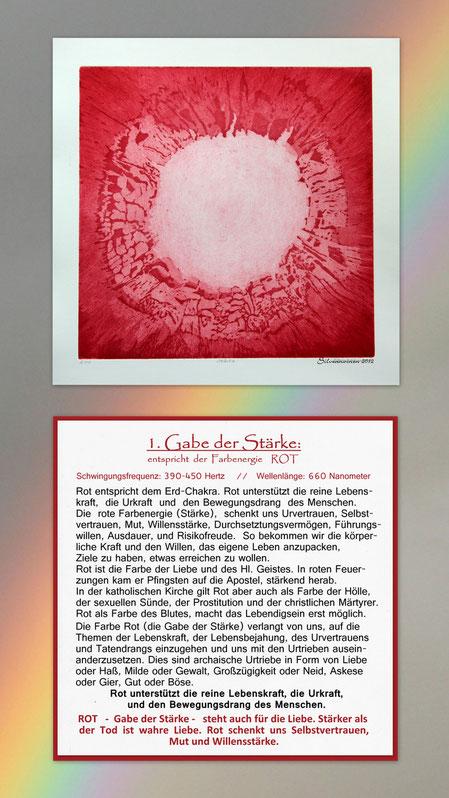Original-Radierung mit Begleittext - Geistesgabe der Stärke - Rot - // Druckmaß der radierten Platte: 26,8 cm x 26,6