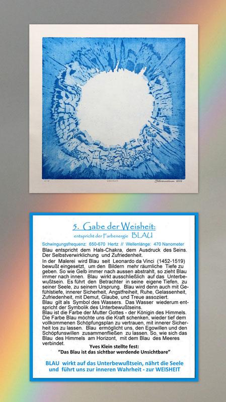 Fotocollage der Radierung sieben Gaben  mit Begleittext auf einem Regenbogen – Geistesgabe der Weisheit – Blau