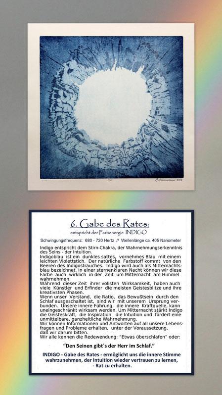 Fotocollage der Radierung sieben Gaben  mit Begleittext auf einem Regenbogen – Geistesgabe der Rat – Indigo