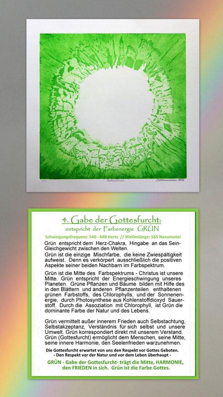 Fotocollage der Radierung sieben Gaben  mit Begleittext auf einem Regenbogen – Geistesgabe der Gottesfurcht – Grün