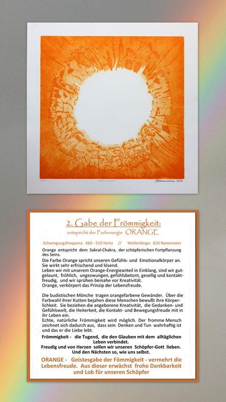 Fotocollage der Radierung sieben Gaben  mit Begleittext auf einem Regenbogen – Geistesgabe der Frömmigkeit – Orange