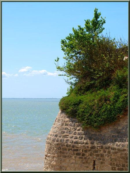 Anciennes fortifications de la Promenade des Remparts avec vue sur La Gironde à Talmont-sur-Gironde, Charente-Maritime
