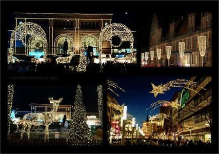Hannovers Hauptbahnhof, Bahnhofstrasse und Altes Rathaus im weihnachtlichen Lichtermeer