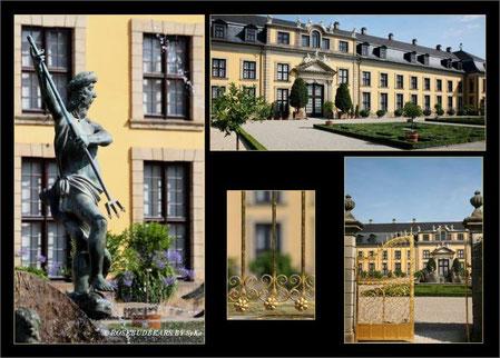 Galerie mit Orangenparterre, Neptunbrunnen und goldenem Tor