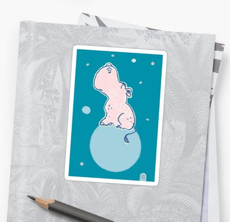Nilpferd, Flusspferd - blau solo - Sticker bei Redbubble – Illustration Judith Ganter - Illustriertes Kopfkino für Alltagsoptimisten