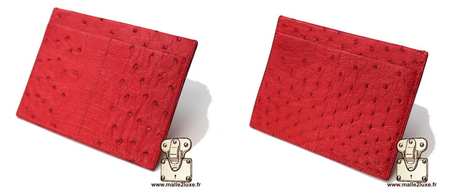 Red ostrich leather card holder x4