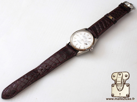Watch strap, shiny crocodile leather, leather lined - Rolex Datejust