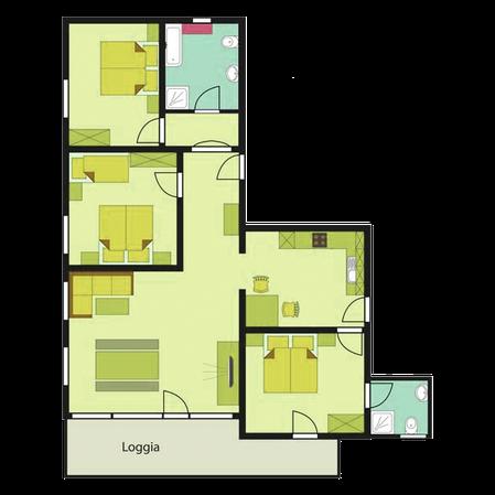 Gästehaus Wiesengrund, Kleinwalsertal, Ferienwohnung Vergissmeinnicht, Grundriss