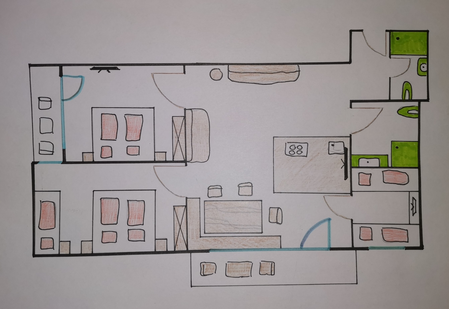 Gästehaus Wiesengrund, Kleinwalsertal, Ferienwohnung Bunella, Grundriss