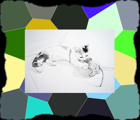 Tierportrait einer Katze, dies ist eine Tierzeichnung, edel, Kuscheltier, Rahmen
