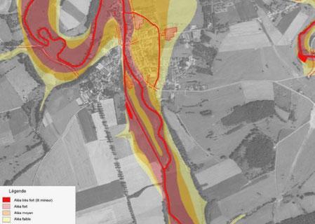 Extrait de l'atlas des zones inondables sur Varennnes-en-Argonne, aléa centennal; DDT de la Meuse.