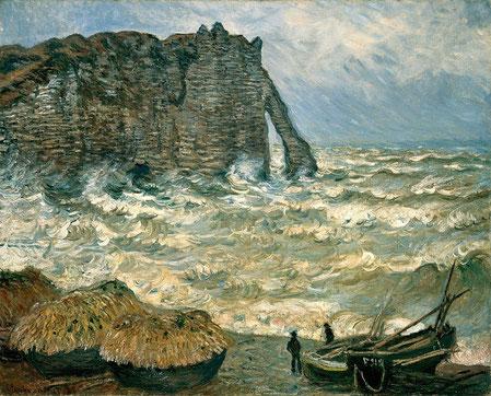 mer agitée à etretat claude monet