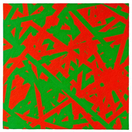Daniel Schörnig  SIGNAL G,O, 2018  marking tape on canvas