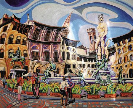 FUENTE DE NEPTUNO (FLORENCIA). Oleo sobre lienzo. 81 x 100 x 3,5 cm.