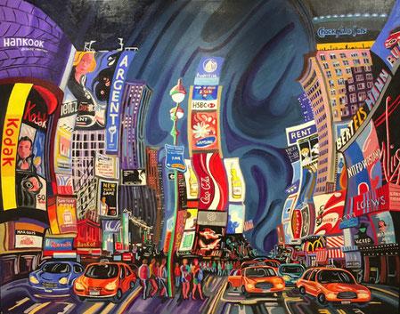 NOCHE EN TIMES SQUARE (NEW YORK). Huile sur toile. 116 x 146 x 3,5 cm.