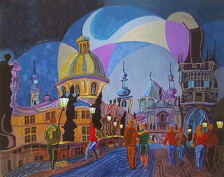 PUENTE DE CARLOS (PRAGUE). Huile sur toile. 81 x 100 x 3,5 cm.