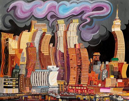 MANHATTAN (NEW YORK). Huile sur toile. 130 x 160 x 3,5 cm.