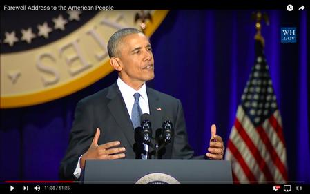 Barack Obama während seiner letzten Rede in Chicago