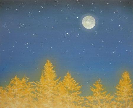 「夜の帳」F15 雲肌麻紙・膠・銀泥・岩絵の具