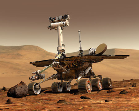 Künstlerische Darstellung eines Mars Exploration Rovers. (Maas Digital LLC for Cornell University and NASA/JPL)
