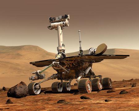 Künstlerische Darstellung eines Mars Exploration Rovers. (Maas Digital LLC for Cornell University and NASA/JPL)