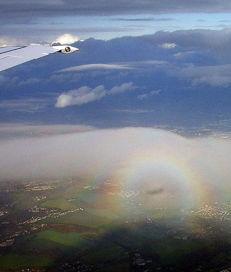 Glorie, beim Blick aus dem Flugzeug