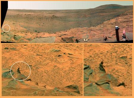 Seeeehr kleines grünes Marsmännlein (West Valley), aufgenommen vom Mars-Rover Spirit im November 2007 (NASA/JPL/Cornell)