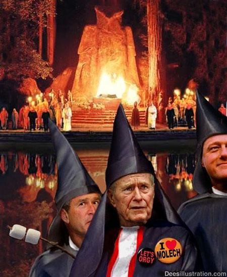Image rerésentative de Bush père et fils ainsi que Bill Clinton très proche des Bush se cotoient dans cette société secrète